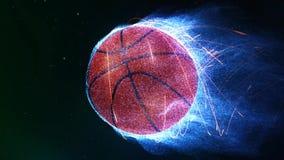 Volo di pallacanestro nel ciclo delle fiamme 4K video d archivio