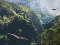 Volo di Pteranodon attraverso il canyon Fotografia Stock Libera da Diritti