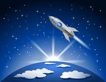 Volo di Rocket nello spazio Immagini Stock Libere da Diritti