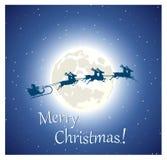 Volo di Santa Claus sulla slitta sul cielo Immagine Stock Libera da Diritti