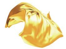 Volo di seta ondulato dorato del panno del raso Fotografia Stock Libera da Diritti