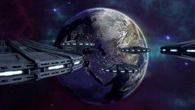 Volo di UFOs alla terra chiarita della città illustrazione di stock