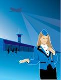 Volo di viaggio dell'aeroporto dell'hostess Immagine Stock