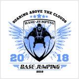 Volo di Wingsuit Base-salto Emblema di sport Immagini Stock
