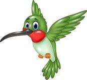 Volo divertente del colibrì del fumetto sul fondo bianco illustrazione vettoriale