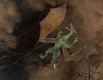 Volo Dragon Above Trees Illustration Fotografie Stock Libere da Diritti