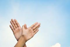 Volo a forma di dell'uccello delle mani sul fondo del cielo Fotografie Stock