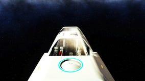 Volo futuristico del bus del passeggero nello spazio Trasporto del futuro rappresentazione 3d illustrazione vettoriale