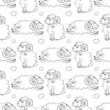 Volo lanuginoso delle pecore nel cielo con le nuvole illustrazione di stock