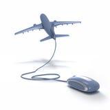 Volo in linea che prenota blu grigio Immagine Stock