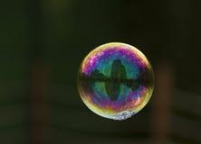 Volo luminoso della bolla di sapone sull'aria fotografia stock