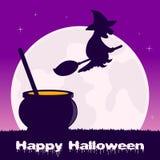 Volo magico del vaso e della strega di Halloween Fotografie Stock Libere da Diritti
