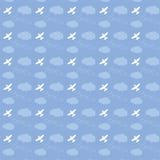 Volo nel cielo, amore, modello senza cuciture dell'aeroplano Fotografia Stock