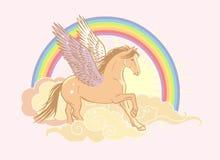 Volo pegasus Illustrazione disegnata a mano di vettore nei colori pastelli morbidi Immagini Stock Libere da Diritti