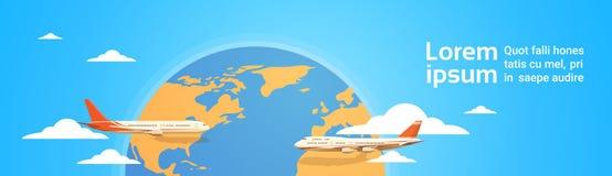 Volo piano dell'aereo di aria di viaggio di vacanza di concetto di turismo della mappa di mondo sorvolare illustrazione vettoriale