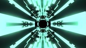 Volo qualità di dati delle luci fuori al neon nella nuova del vr del tunnel di moto dei grafici di animazione del ciclo senza cuc illustrazione di stock