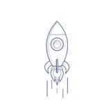 Volo Rocket Business Startup Concept Banner con lo spazio della copia Fotografia Stock