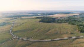 Volo sopra i campi di verde della campagna, la foresta e la molla in anticipo del villaggio, foto aerea di vista panoramica Fotografia Stock