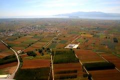 Volo sopra il paese greco Fotografia Stock Libera da Diritti
