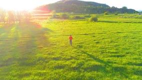 Volo sopra l'uomo di sport al prato perfetto dell'erba verde Tramonto in montagna video d archivio