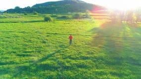 Volo sopra l'uomo di sport al prato perfetto dell'erba verde Tramonto in montagna archivi video