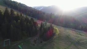 Volo sopra la foresta con gli ascensori nelle montagne Vista aerea di ucranino Carpathians stock footage