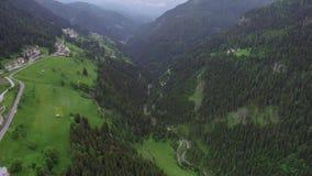 Volo sopra la foresta in montagne archivi video
