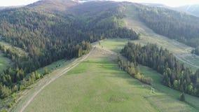 Volo sopra la foresta nelle montagne e nel villaggio Vista aerea di ucranino Carpathians archivi video