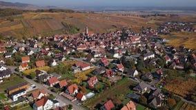 Volo sopra le vigne di Riquewihr di autunno, l'Alsazia, Francia archivi video