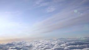 Volo sopra Sunny Clouds Siluetta dell'uomo Cowering di affari archivi video
