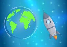 Volo spaziale umano di giorno internazionale Insegna di 12 April Cosmonautics Day con il razzo e la terra Bandiera orizzontale di illustrazione vettoriale