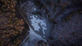 Volo su un fuco sopra un lago congelato Cerchi di ghiaccio sull'acqua Lago nell'inverno in una foresta o in un parco, fra gli alb video d archivio