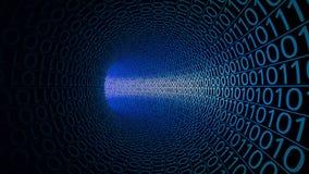 Volo tramite il tunnel blu astratto fatto con gli zeri ed un Fondo moderno di moto Computer, trasferimento di dati binario illustrazione vettoriale