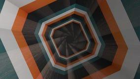 Volo tramite il tunnel ipnotico geometrico con le bande nere, marroni, arancio, ciclo senza cuciture animazione Bella rotazione illustrazione di stock