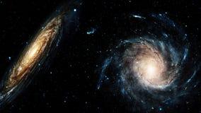 Volo vicino all'galassie a spirale giranti Fondo loopable astratto stock footage