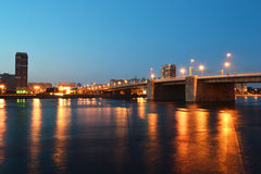 Volodarsky bridge at night Stock Photography