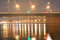 Volodarsky Bridge at night. Royalty Free Stock Photos