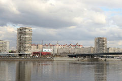 Volodarsky Bridge and October Embankment of the Neva River. Stock Images
