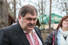 Volodymyr Bondarenko. 20.04.2014 - réunion avec des personnes dans Etnogr Photo libre de droits