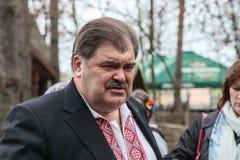 Volodymyr Bondarenko. 20.04.2014 - vergadering met mensen in Etnogr royalty-vrije stock afbeeldingen