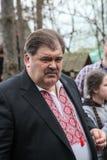 Volodymyr Bondarenko. 20.04.2014 - vergadering met mensen in Etnogr stock afbeelding