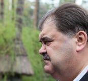 Volodymyr Bondarenko. 20.04.2014 - vergadering met mensen in Etnogr royalty-vrije stock foto
