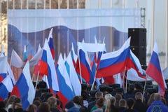 Vologda, †«10-ое марта РОССИИ: демонстрация Крыма к реюньону России 10-ого марта 2014 Стоковые Фотографии RF