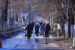 Vologda, †«10-ое марта РОССИИ: толпа людей на улице, пешеходов 10-ого марта 2014 Стоковые Фото