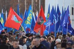 """Vologda, †de RUSIA """"10 de marzo: demostración de la Crimea a la reunión de Rusia el 10 de marzo de 2014 Fotos de archivo libres de regalías"""