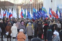 """Vologda, †de RUSIA """"10 de marzo: demostración de la Crimea a la reunión de Rusia el 10 de marzo de 2014 Imagen de archivo"""