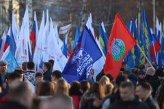 """Vologda, †della RUSSIA """"10 marzo: dimostrazione della Crimea alla riunione della Russia il 10 marzo 2014 immagini stock libere da diritti"""
