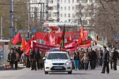 Vologda, †de la RUSSIE «1er mai : Démonstration et personnes de mayday sur la rue dans Vologda le 1er mai 2014, dans Vologda Photos stock