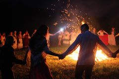 Vologda, July 2018, the day of Ivan the bath. People dance around the fire. royalty free stock images