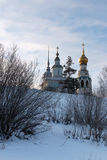 Vologda kremlin. Journey to the North of Russia. View from the frozen Vologda River. Church of Alexander Nevsky. Resurrection Cathedral, St. Sophia Cathedral Royalty Free Stock Photo